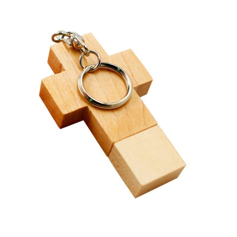 wooden cross key chain